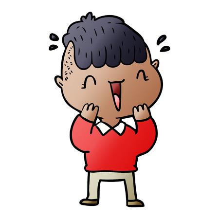 Cartoon happy boy surprised Illustration