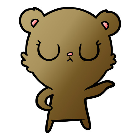 Peaceful cartoon bear Illustration