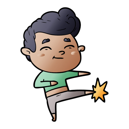 Happy cartoon man kicking