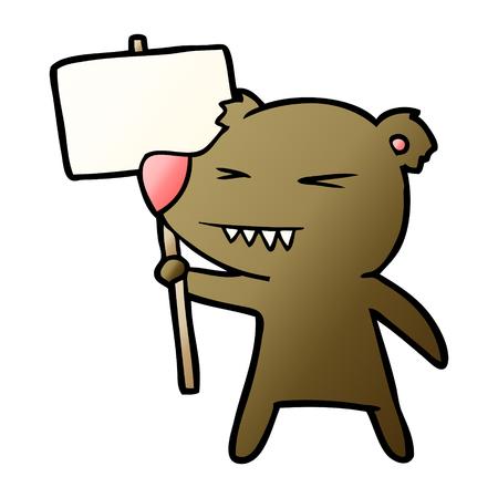 angry bear cartoon protesting Illustration