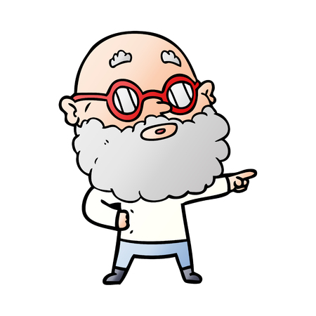 cartoon curious man with beard and glasses Illustration