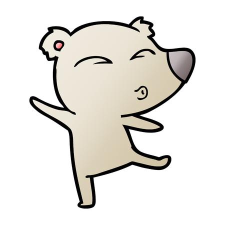 Cartoon whistling bear Illustration