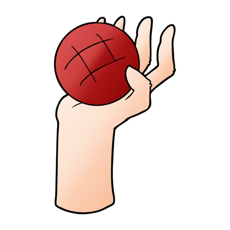 Cartoon hand throwing ball