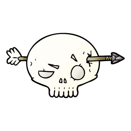 Cartoon skull shot through by arrow  イラスト・ベクター素材