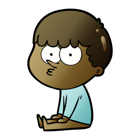 cartoon boy sat waiting Ilustrace