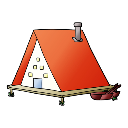 cartoon lake house Ilustrace