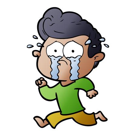 漫画泣いている男が走っている  イラスト・ベクター素材