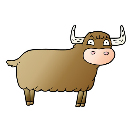 Cartoon highland cow Illustration