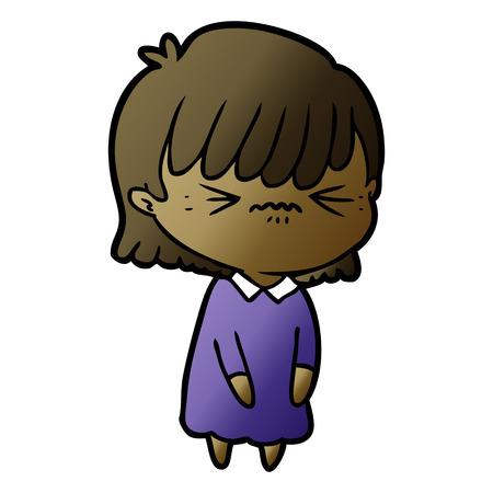 Annoyed cartoon girl Ilustração