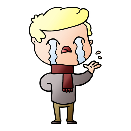 Cartoon man crying wearing winter scarf Stock Illustratie