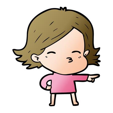 cartoon woman pointing Foto de archivo - 95615958