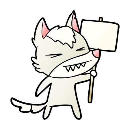 Angry wolf cartoon with placard Ilustração