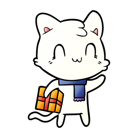 Cartoon happy cat wearing scarf
