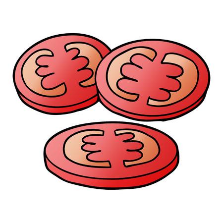 Sliced tomatoes cartoon 일러스트