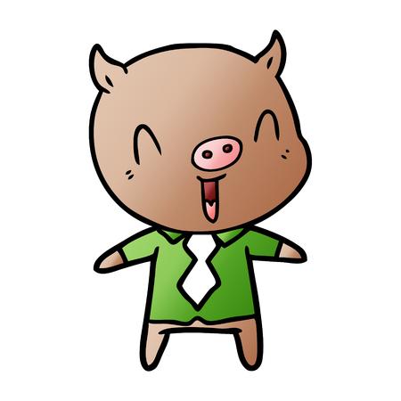 Happy cartoon pig wearing shirt and tie