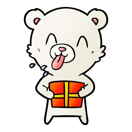 rude cartoon polar bear sticking out tongue with present