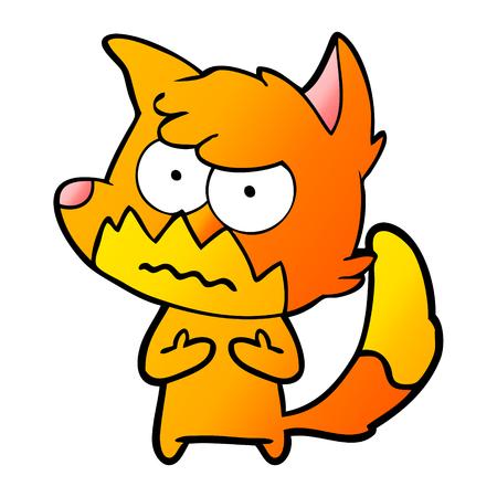 cartoon annoyed fox Illustration