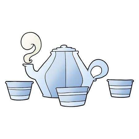 Cartoon teapot and cups Illustration