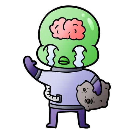 cartoon big brain alien crying and waving goodbye