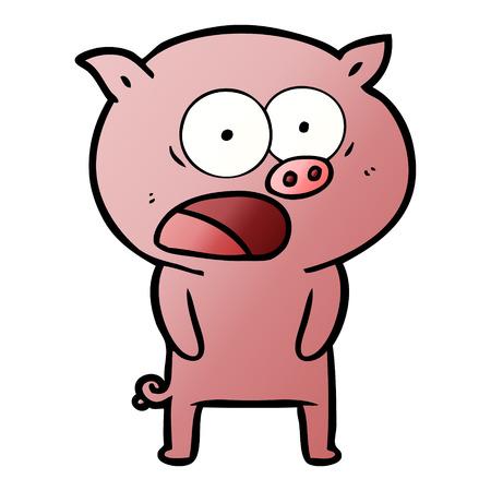 漫画の豚の叫び声  イラスト・ベクター素材