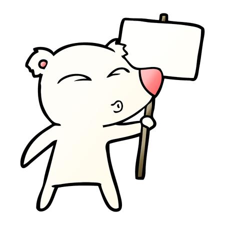 cartoon polar bear with placard Ilustração