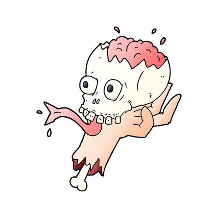 cartoon halloween skull in zombie hand