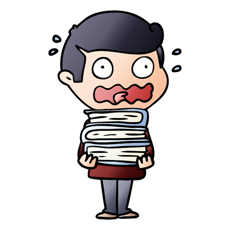 Cartoon man with books totally stressed out Illustration