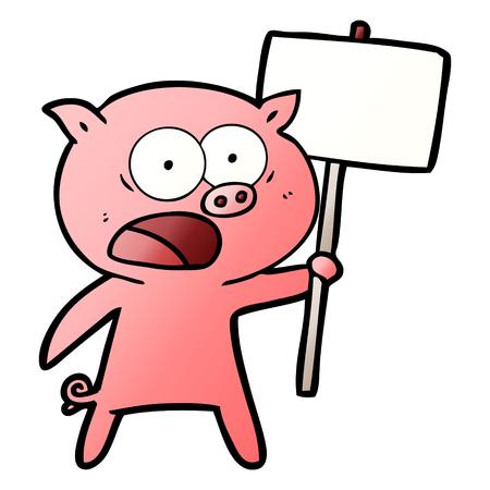 漫画の豚の抗議