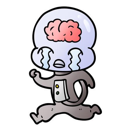 Cartoon big brain alien crying running