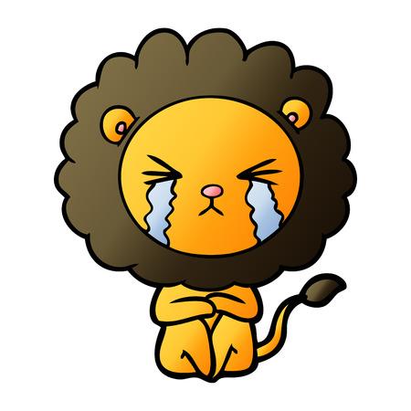 Cartoon crying lion sitting huddled up