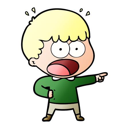 dessin animé, choqué, homme, pointage Vecteurs