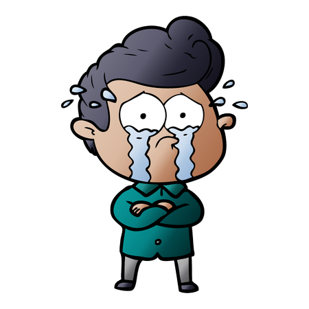 cartoon crying man with crossed arms Illustration