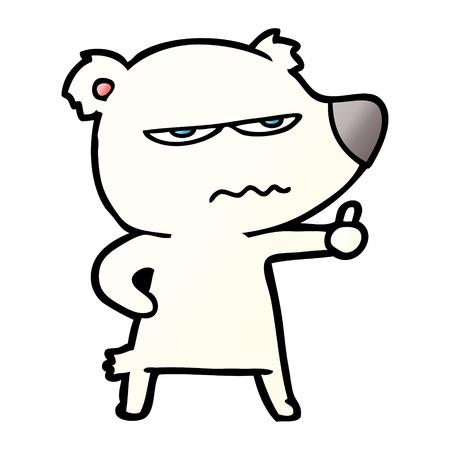 angry bear polar cartoon giving thumbs up Ilustração