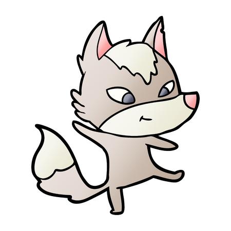 friendly cartoon wolf dancing Ilustração