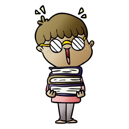 cartoon boy with amazing books