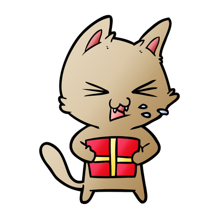 cartoon hissing cat with christmas present Banque d'images - 95628282