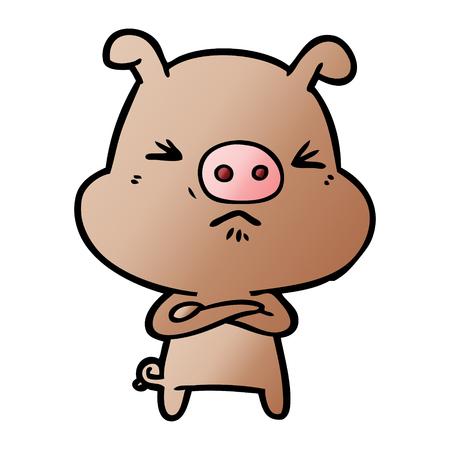 Cartoon grumpy pig Ilustração