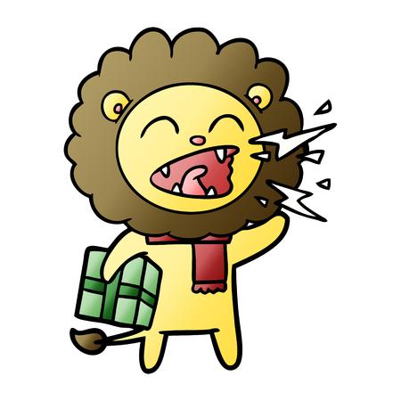Cartoon roaring lion with present Illustration