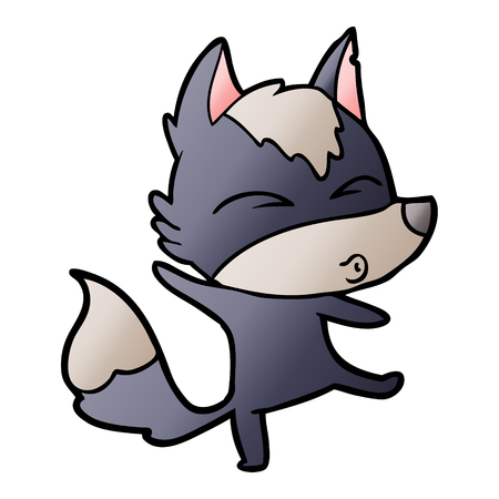 Cartoon wolf pouting