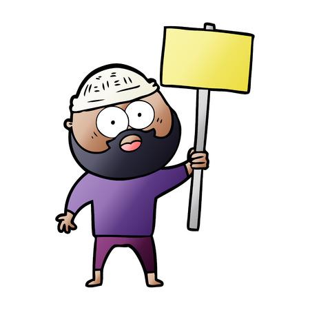 cartoon bearded man with signpost 向量圖像