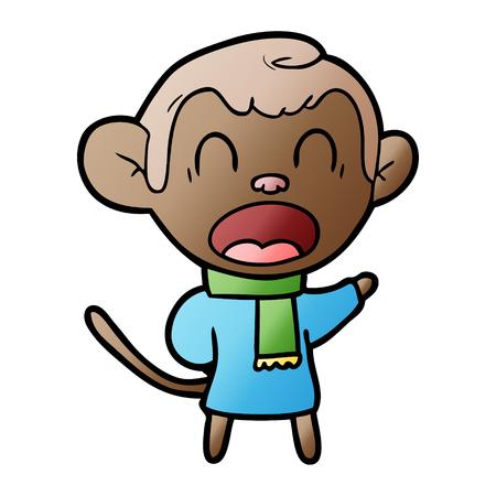 shouting cartoon monkey wearing scarf Stock fotó - 95739163