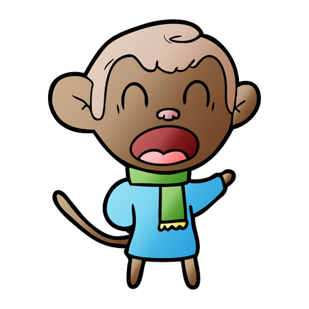 shouting cartoon monkey wearing scarf Illustration