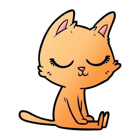 calm cartoon cat Illustration
