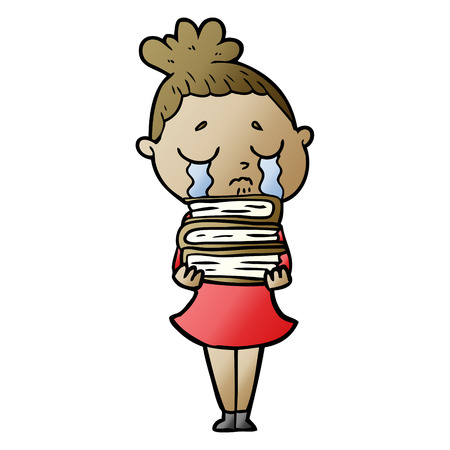 cartoon crying woman with stack of books Illustration