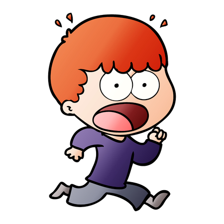 cartoon shocked man running away Иллюстрация