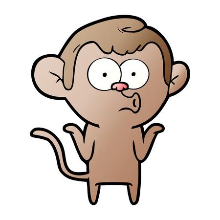 cartoon confused monkey Ilustração