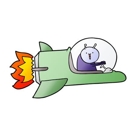 Cartoon Alien im Raumschiff Standard-Bild - 95739269