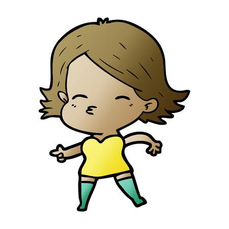 cartoon woman pointing Foto de archivo - 95739528