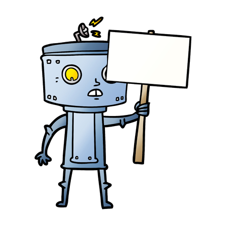 cartoon robot with blank sign