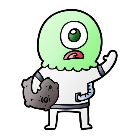 cartoon cyclops alien spaceman waving